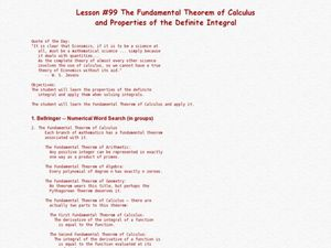The Fundamental Theorem Of Calculus And Properties Of The Definite Integral Lesson Plan
