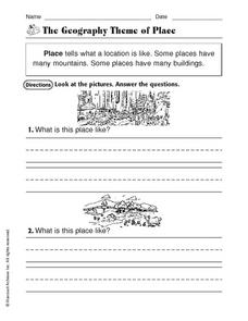 The Geography Theme of Place Worksheet