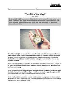"The Gift of the Magi"" 5th - 6th Grade Worksheet 