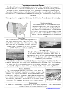 The Great American Desert Worksheet