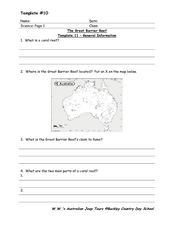 The Great Barrier Reef 4th - 6th Grade Worksheet | Lesson ...