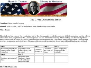 The Great Depression Essay Lesson Plan