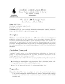 The Great GPS Scavenger Hunt Lesson Plan