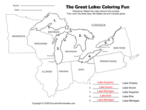 The Great Lakes Coloring Fun on United Nations Day Worksheet