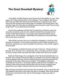 The Great Snowball Mystery! Worksheet