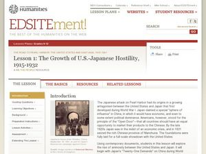 The Growth of U.S.-Japanese Hostility, 1915-1932 Lesson Plan