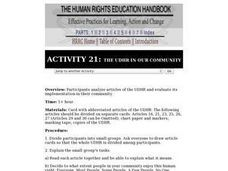 The Human Rights Education Handbook: The UDHR in our Community Lesson Plan