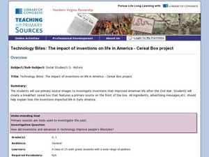 The Impact Of Inventions On Life In America Cereal Box Project 1st 6th Grade Lesson Plan