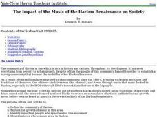 The Impact of the Music of the Harlem Renaissance on Society Lesson Plan