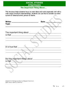 """The Important Thing About"" Main Idea Worksheet Worksheet"