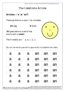 "The Indefinite Article ""a"" or ""an""--Cut and Paste Worksheet"