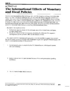 The International Effects of Monetary and Fiscal Policies Worksheet