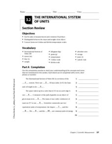 The International System of Units Worksheet