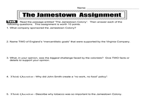 Worksheets Jamestown Worksheet the jamestown colonies 8th 12th grade worksheet lesson planet worksheet