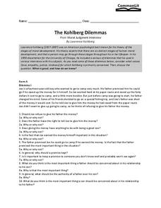the kohlberg dilemmas 11th 12th grade worksheet lesson planet. Black Bedroom Furniture Sets. Home Design Ideas