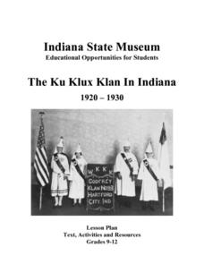 The Ku Klux Klan In Indiana:  1920-1930 Lesson Plan