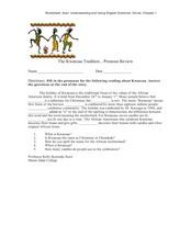 The Kwanzaa Tradition…Pronoun Review Worksheet