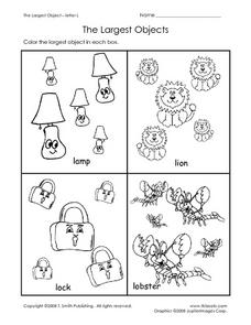 The Largest Objects - Letter L Worksheet