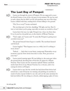 The Last Day of Pompeii Worksheet