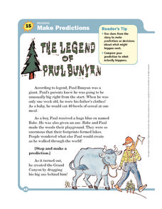 The Legend of Paul Bunyan Worksheet