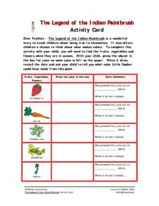 The Legend of the Indian Paintbrush Activity Card Worksheet