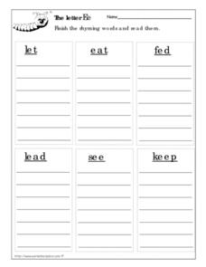 The Letter Ee: Rhyming Words Worksheet