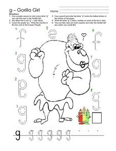 "The Letter ""G"": Gorilla Girl Worksheet"