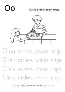 The Letter O: Olivia Orders Onion Rings Lesson Plan
