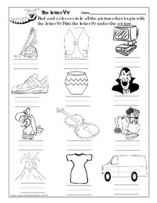 The Letter Vv Picture Match Worksheet