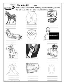 The Letter Zz Picture Match Worksheet