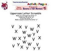 The Letters V, W, X and Y Worksheet
