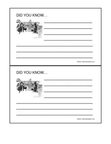 The Lewis and Clark Expedition Did You Know Cards Worksheet