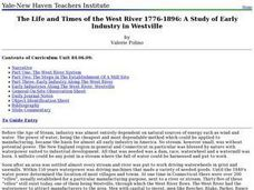 The Life and Times of the West River 1776-1896: A Study of Early Industry in Westville Lesson Plan