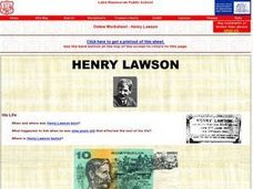 The Life of Henry Lawson Online Worksheet Worksheet