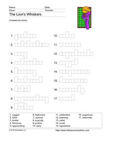 The Lion's Whiskers Word Graphs Worksheet
