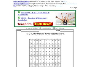 The Lion, The Witch and the Wardrobe Wordsearch 2nd - 3rd Grade ...