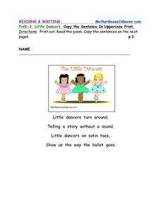 The Little Dancers-- Printing Practice Worksheet