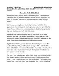 The Little Fluffy White Cloud Worksheet