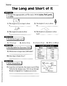 The Long and Short of It Worksheet