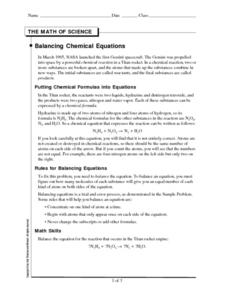 The Math of Science-Balancing Chemical Equations Worksheet