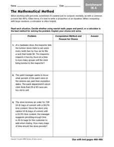 The Mathematical Method: Enrichment Worksheet