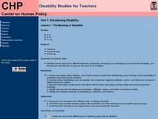 The Meaning of Disability Lesson Plan