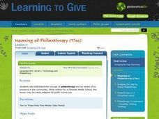 The Meaning of Philanthropy Lesson Plan
