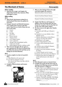 The Merchant of Venice Activity Worksheet and Progress Test Worksheet