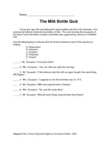 The Milk Bottle Quiz Lesson Plan