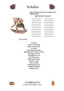 The Minotaur: Word Challenge Worksheet