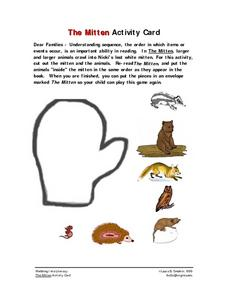 """The Mitten"" Activity Card- Family Activity Worksheet"