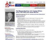 The Monroe Doctrine: U.S. Foreign Affairs (circa 1782-1823) and James Monroe Lesson Plan