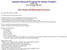 The Nature Of Dissolving Processes Lesson Plan
