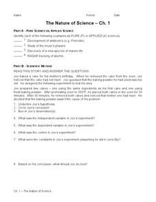 Printables The Nature Of Science Worksheet the nature of science 7th 9th grade worksheet lesson planet worksheet